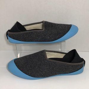 Mahabis Gray Wool Slippers Sz 42 8.5-9 Blue Soles